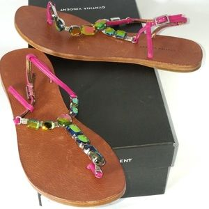 Cynthia Vincent Annette Jewelled Thongs Fuchsia
